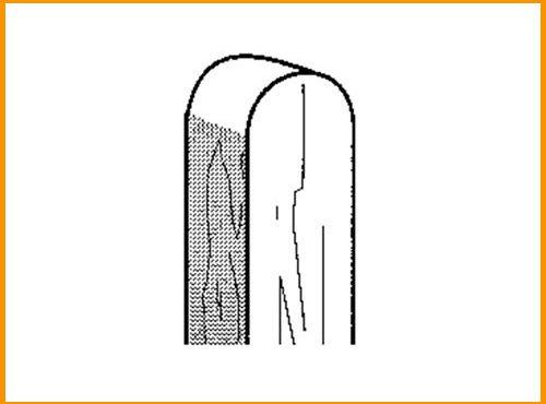 Pfosten (Kreuzholz) / Kopf gerundet
